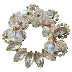 Juliana Dangle Aurora Borealis Crystal Bead & Marquise Rhinestone Circle Pin