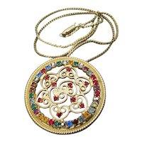 Vintage JULIANA D&E Multi Color Rhinestone Wire Work Pendant Necklace