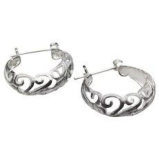 Pretty Sterling Silver Swirl Filigree Vintage Hoop Earrings