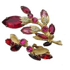 Elegant Unsigned WEISS Vintage Red Rhinestone Flower Pin & Earrings Set