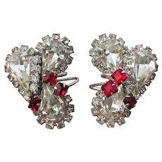 JULIANA Floating Wire Emerald Cut Red & Crystal Teardrop Rhinestone Vintage Earrings