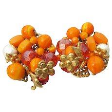 Signed ROBERT 1950's Vintage Orange Crystal Bead Earrings