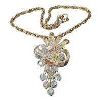 1960's Vintage Cascading Grape Bunch Crystal Bead Pendant Necklace