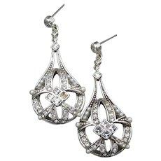 Vintage MONET Faux Pearl & Rhinestone Dangle Earrings