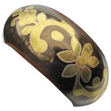 Wide Vintage 2-Tone Brass Indie Floral Bangle Bracelet