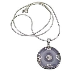 Vintage Sterling Silver Chinese Good Luck & Lavender JADE Pendant Necklace