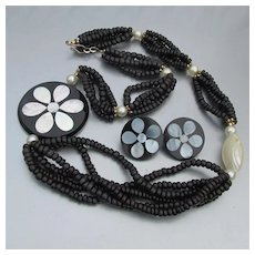 Mother-of-Pearl, Shell & Black Bead Vintage Necklace & Earrings Set