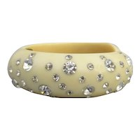 Weiss Vintage Rhinestone Lucite Clamper Bracelet, Size Small