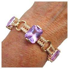 Ross-Simons Amethyst Multi-Stone Sterling Vermeil Bracelet