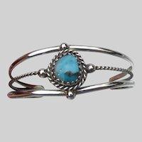 Vintage Southwestern 800 Silver & Turquoise Cuff Bracelet