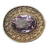 Pretty Vintage Sterling Silver Vermeil Filigree Amethyst Glass Pin