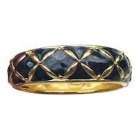 Vintage Joan RIVERS Navy Blue Enamel Hinged Gold Tone Cuff Bracelet