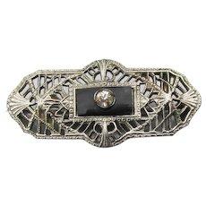 1920's Vintage Art Deco Rhinestone Filigree Pin