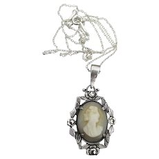 Antique Edwardian Sterling Silver & Marcasite Carved Shell CAMEO Necklace