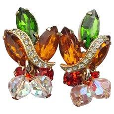 Signed KRAMER Dangle Crystal Bead & Rhinestone Vintage Earrings