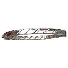 Etched Vintage Sterling Silver Hinged SQUARE Bangle Bracelet