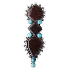 Antique Etruscan Revival 800 Silver Turquoise & Carnelian Slide Dress Clip Brooch