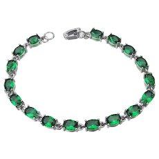 Sterling Silver & Emerald Green Oval CZ Tennis Bracelet
