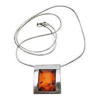 Baltic Honey AMBER Sterling Silver Vintage Modernist Necklace