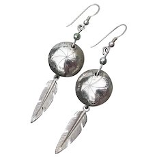 Vintage Native American FEATHER Dangle Etched Sterling Silver Pierced Earrings