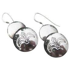 Pretty Sterling Silver Vintage FERN Engraved Drop Pierced Earrings