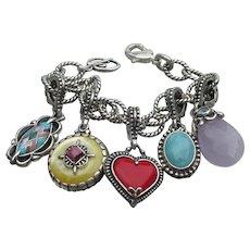 Carolyn Pollack Vintage Sterling Silver Gemstone Enhancer Charm Bracelet