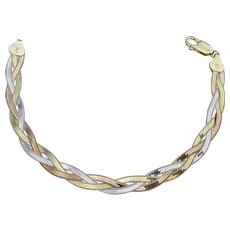 Sterling Silver Vintage Milor Italy Braided Rose & Yellow Gold Vermeil Chain Bracelet