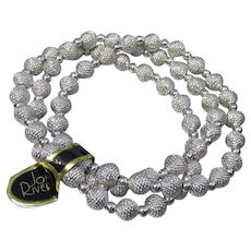 Joan RIVERS Vintage 3 White Gold Plated Bead Bracelets, NEW with TAG MIB!