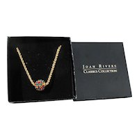 Vintage Joan Rivers Crystal Rhinestone BALL Pendant Necklace, New in Box