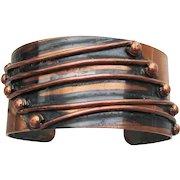 Signed RENOIR Wide Modernist Vintage Copper Cuff Bracelet