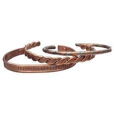 Set of 3 Vintage Copper Cuff Bracelets, Size XL Unisex