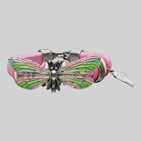 Pink Leather Artisan Hand-Painted DRAGONFLY Cuff Bracelet