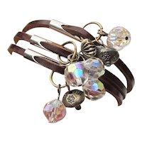 Triple Strand Leather Vintage Artisan Sterling & Crystal Bead Charm Bracelet