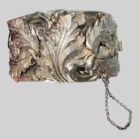 Deeply Leaf Embossed WIDE Retro Silver Tone Cuff Bracelet