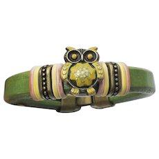 Leather Artisan Hand-Painted OWL Bird Cuff Bracelet