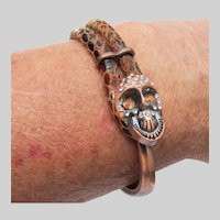 Skull Day of the Dead Rhinestone, Copper & Faux Snake Skin Leather Artisan Cuff Bracelet