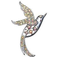 "Sarah Coventry ""Bird of Paradise"" 1966 Vintage AB Rhinestone Pin, Book Piece!"