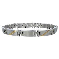 Men's Stainless Steel & 14k Gold Inlay Modernist Bracelet & Ring Set, NEW In Box!