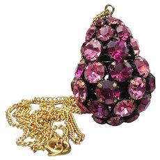 Large Pink Rhinestone Japanned EGG Pendant Vintage Necklace