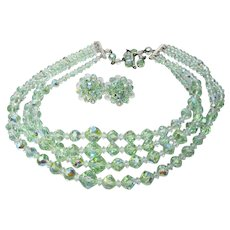 4 Strand Light Green AB Crystal Vintage Necklace & Earrings Set, MINT Condition
