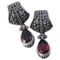Sterling Silver Filigree & Tear Drop GARNET Dangle Earrings