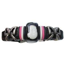 Black Leather Artisan Hand-Painted Cuff Bracelet