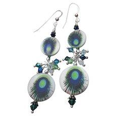Artisan Peacock Eye Glass & Swarovski Crystal Bead LONG Shoulder Duster Pierced Dangle Earrings
