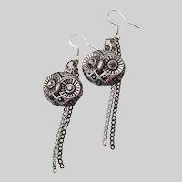 Hand Made Artisan OWL Bird Dangle Sterling, Pewter & Rhinestone Earrings