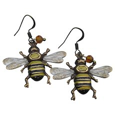 Antiqued Brass Hand Painted Artisan Bumble BEE Dangle Pierced Earrings