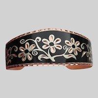 Black & Silver Enamel on Copper Vintage Floral Cuff Bracelet