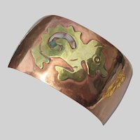 Abalone Baby DRAGON on Vintage Wide Mexican Copper Cuff Bracelet