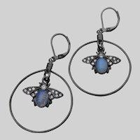 Artisan Faux Opal Glass BEE Dangle Hoop Black Enamel & Rhinestone Earrings
