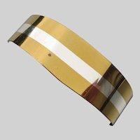 Lillian Vernon 1976 Modernist Sterling Inlay Brass Cuff Bracelet
