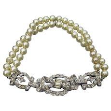 Gorgeous 1930's Art Deco Vintage Rhinestone & Double Strand Faux Pearl Bracelet
